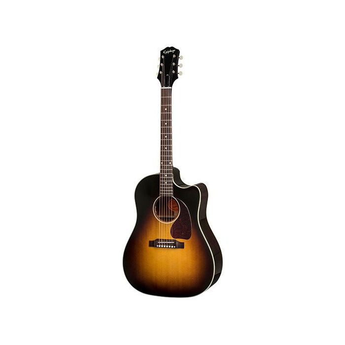 Full frontal view of an Epiphone Inspired By Gibson Masterbilt J-45 EC, Aged Vintage Sunburst