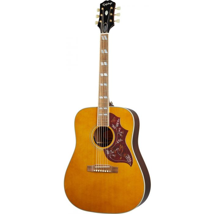 Full frontal view of an Epiphone Inspired By Gibson Hummingbird, Aged Natural Antique
