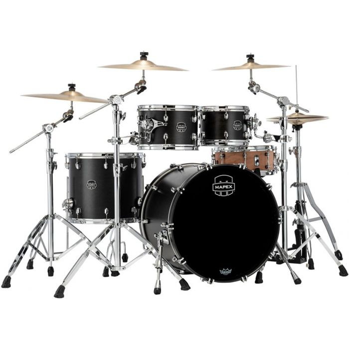 Full view of a Mapex Saturn 2020 Rock 4-Piece Shell Pack, Satin Black