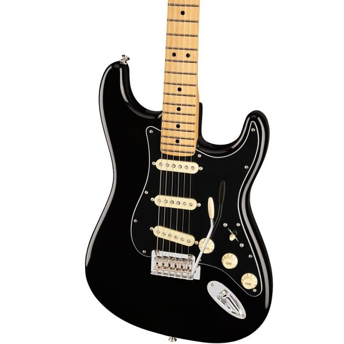 Close up of the body on the Fender Ltd Edition Player Stratocaster MN Black