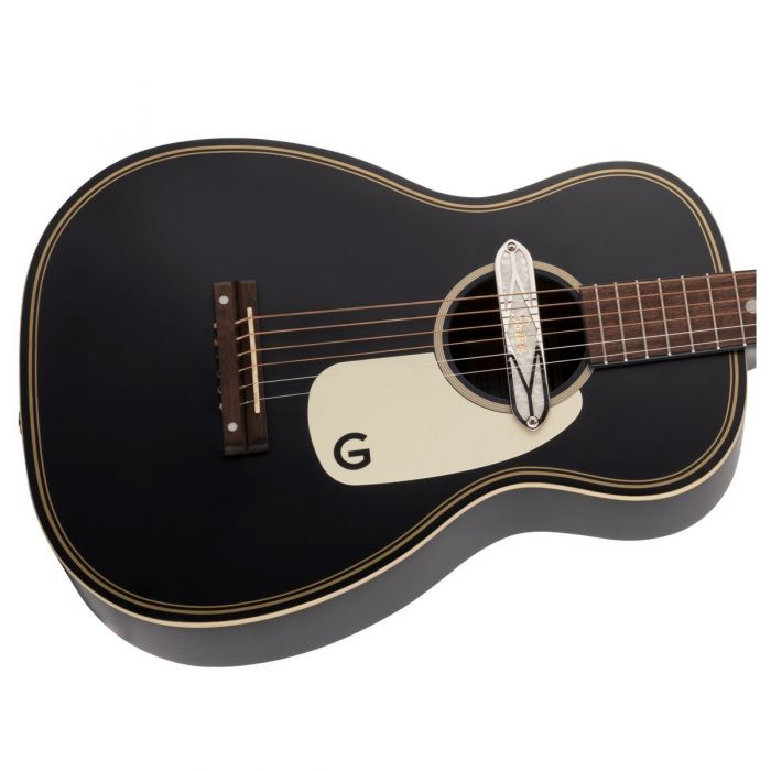 Close up body view of the Gretsch G9520E Gin Rickey Electro-Acoustic in Smokestack Black