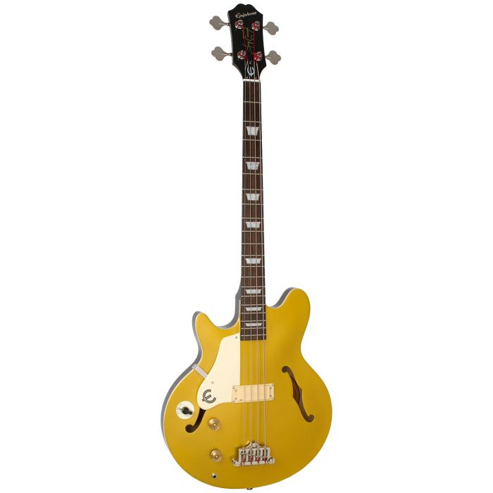Full frontal view of an Epiphone Jack Casady Bass Left-handed Bass, Metallic Gold