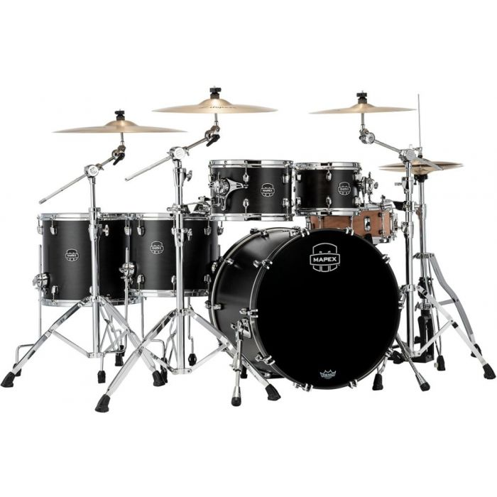 Mapex Saturn 2020 SR628X-FB 5-Piece Shell Pack, Satin Black seen from the front