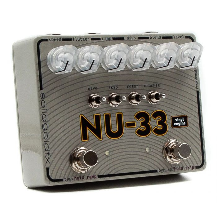 SolidGoldFX NU-33 Vinyl Engine Chorus and Vibrato Pedal seen from a left-sided angle