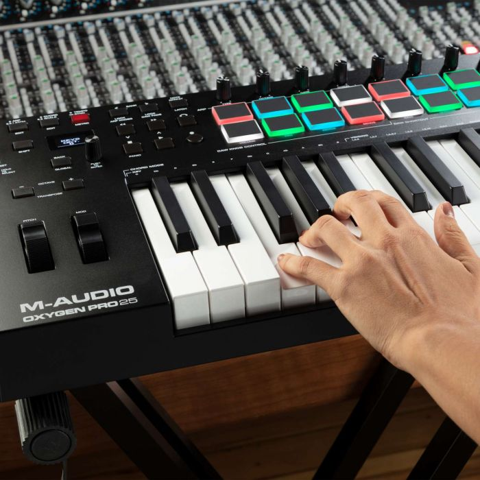 Pads and Keys of The M-Audio Oxygen Pro 25 USB MIDI Controller