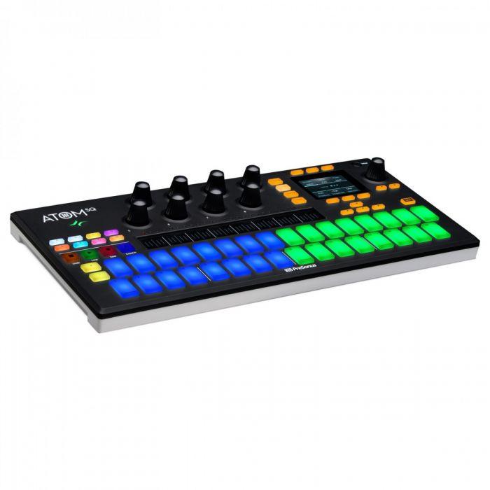 Angled view of the Presonus ATOM SQ Hybrid MIDI Keyboard/Pad Controller