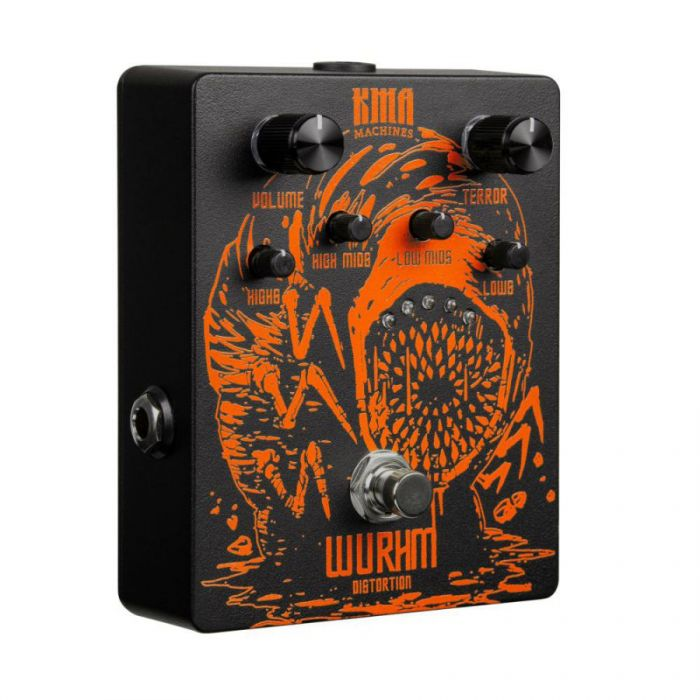 Right-angled view of a KMA Machines Limited Edition Wurhm Distortion Pedal