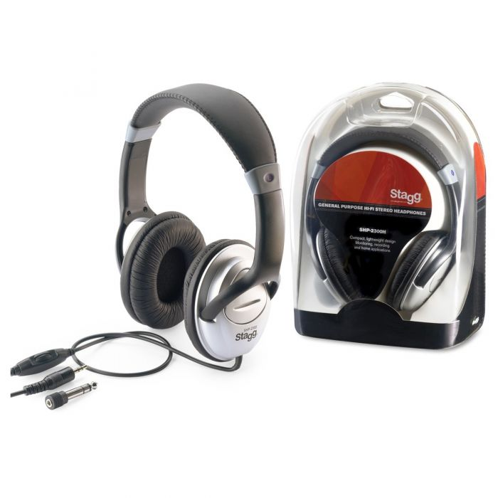 Headphone and packet view of the Stagg SHP-2300H General Purpose HiFi Stereo Headphones