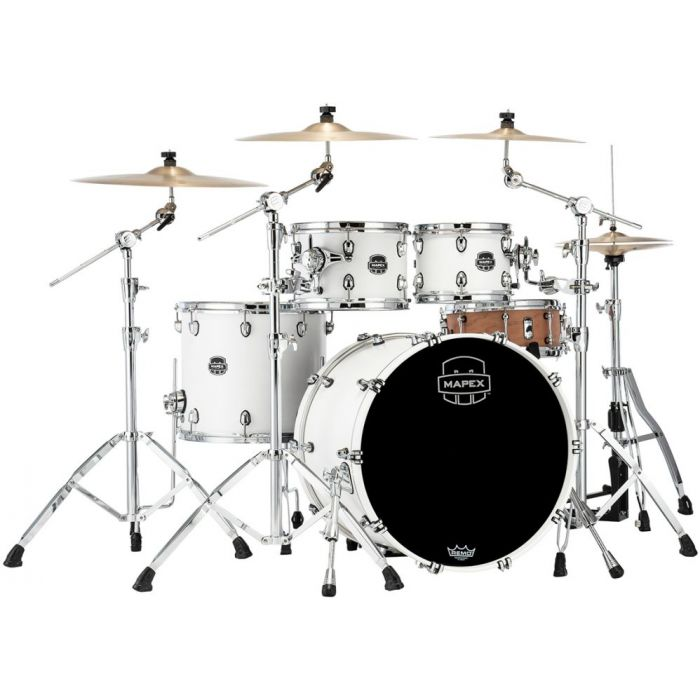 Full view of a Mapex Saturn 2020 SR529XU-RM Rock 4-Piece Shell Pack Satin White