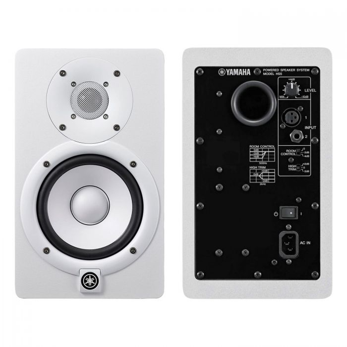 Front and Back of Yamaha HS5 White Studio Monitors
