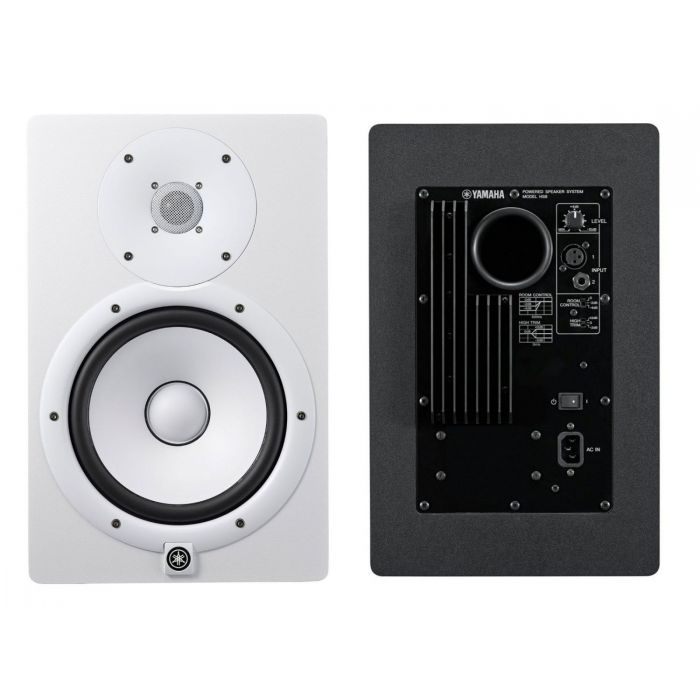 Front and Rear of White Yamaha HS8 Studio Monitors
