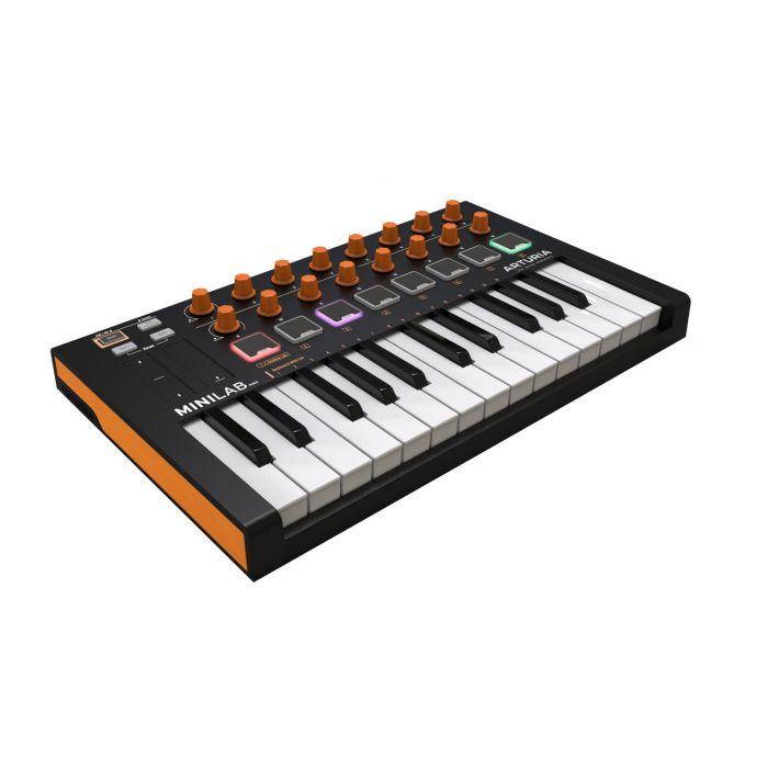 Angled View of Arturia MiniLab MkII Black and Orange Edition USB MIDI Keyboard