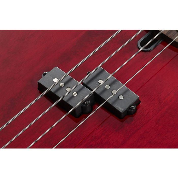 Closeup of the pickup on a Hand Signed Yamaha Peter Hook Signature BB Bass Guitar
