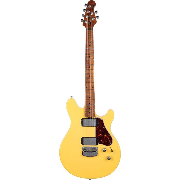 Full frontal view of a Music Man Valentine Electric Guitar, TV Yellow