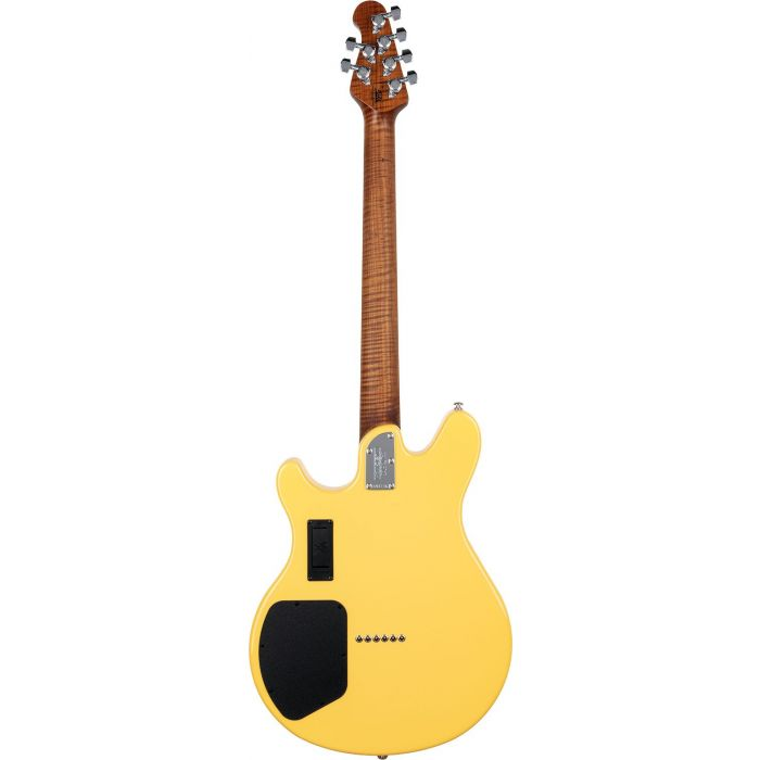 Full rear view of a Music Man Valentine Electric Guitar, TV Yellow