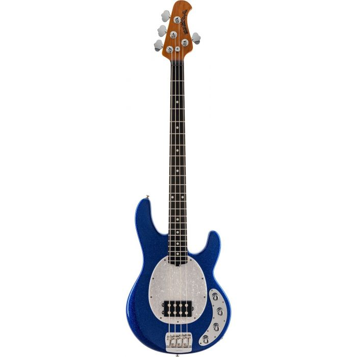 Full frontal view of a Music Man Stingray Special Bass, Tectonic Blue Sparkle