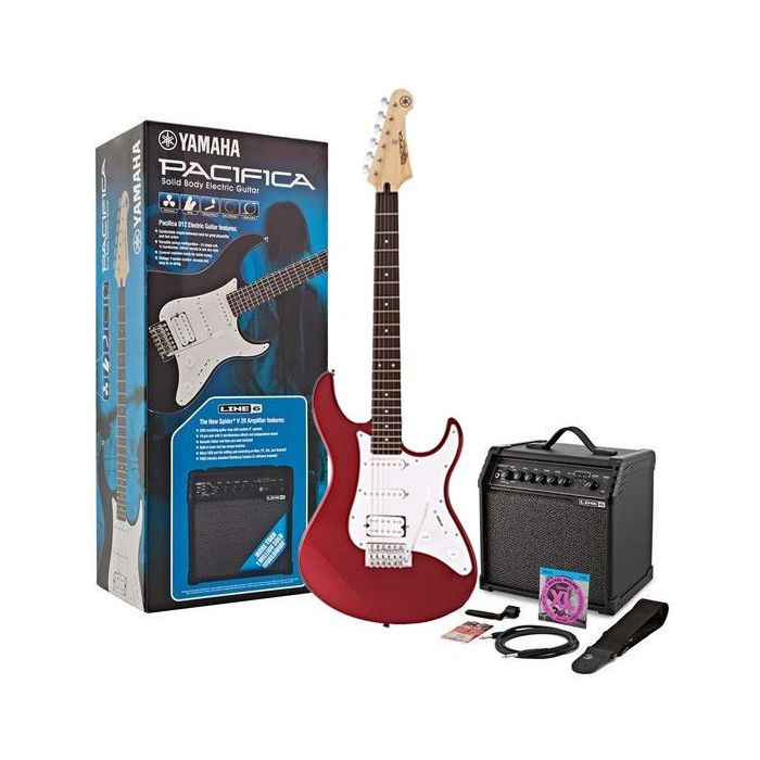 Yamaha Pacifica 012 Guitar Starter Pack, Red Metallic seen from the front