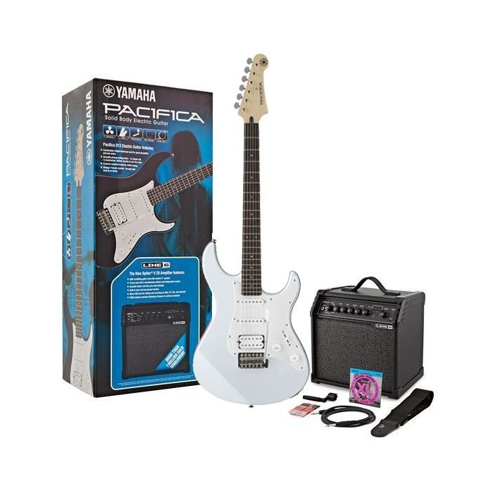 Yamaha Pacifica 012 Guitar Starter Pack, White viewed from the front