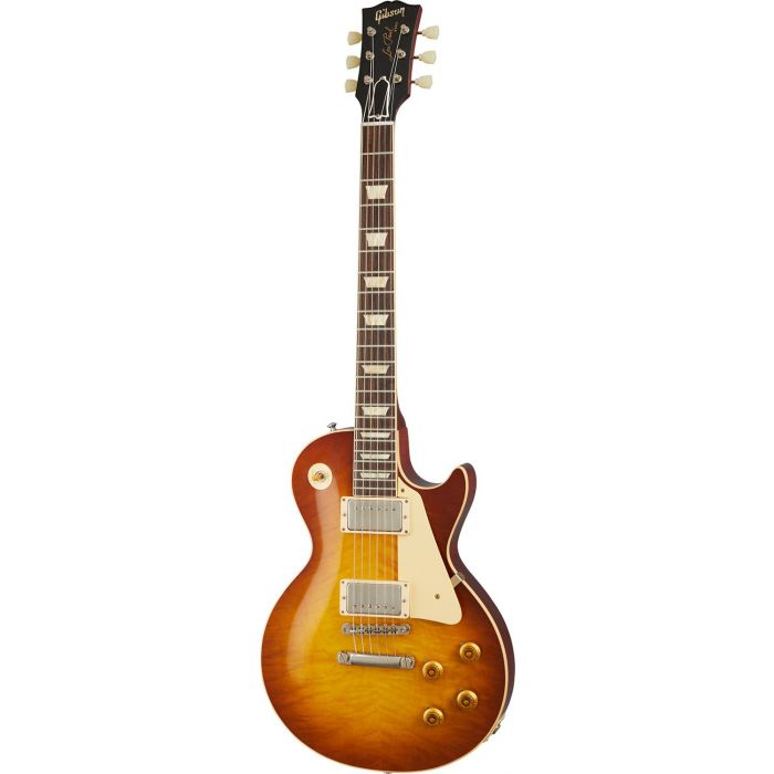 Full frontal view of a Gibson 1959 Les Paul Standard Reissue VOS, Iced Tea Burst