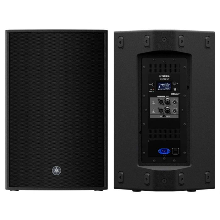 Front and Back of Yamaha DZR12 Active Loudspeaker Pair