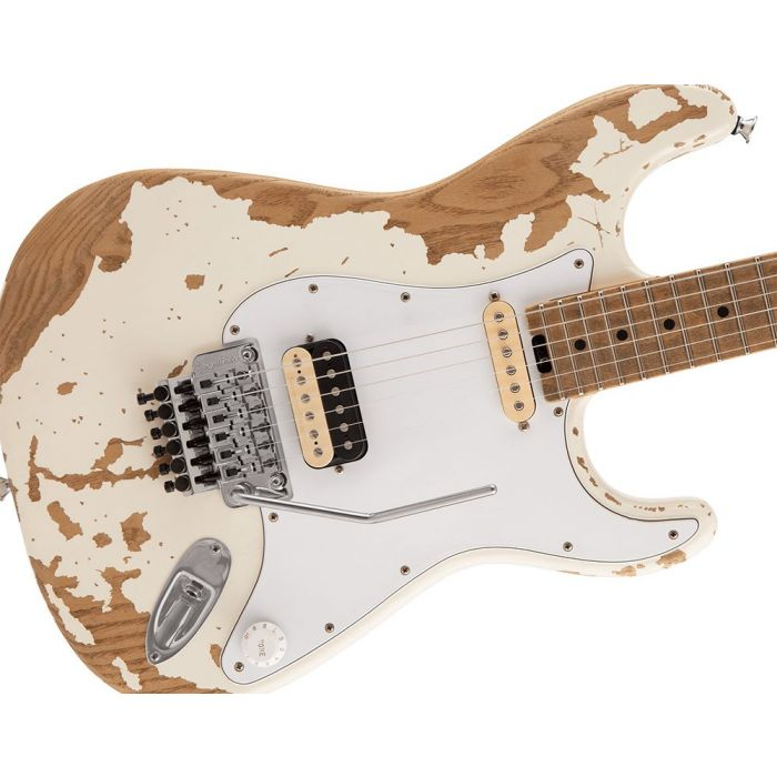 Closeup of the body on a Charvel Henrik Danhage Ltd Edition Pro-Mod So-Cal Style 1 White Relic