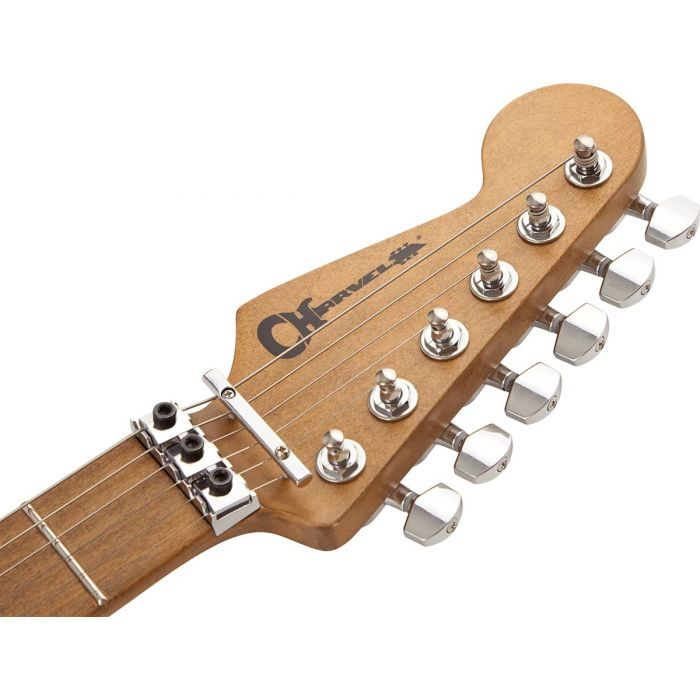 Front view of the headstock on a Charvel Henrik Danhage Ltd Edition Pro-Mod So-Cal Style 1 White Relic