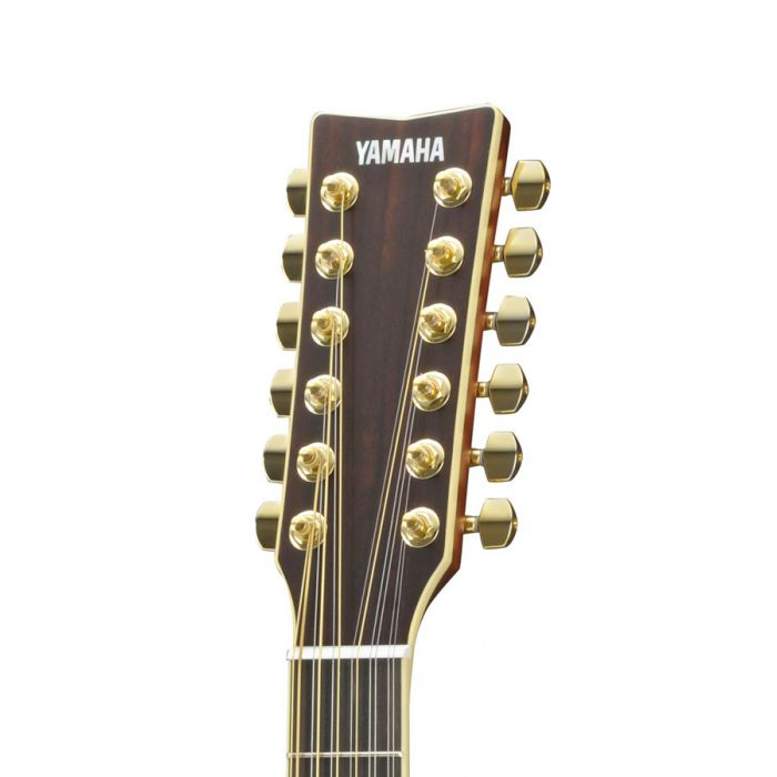 Close up of the headstock on the Yamaha LL16-12 ARE 12 String Electro Acoustic Guitar