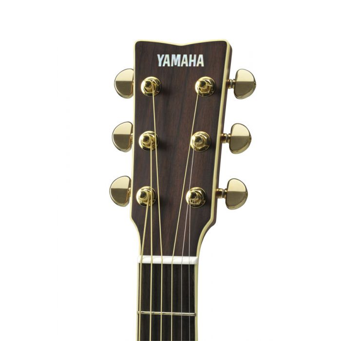 Close up of the headstock on the Yamaha LJ6 ARE Electro Acoustic Natural
