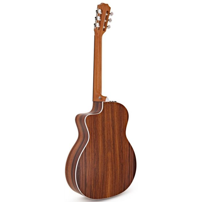 Rear view of a Taylor 214ce-N Nylon String Guitar, Natural