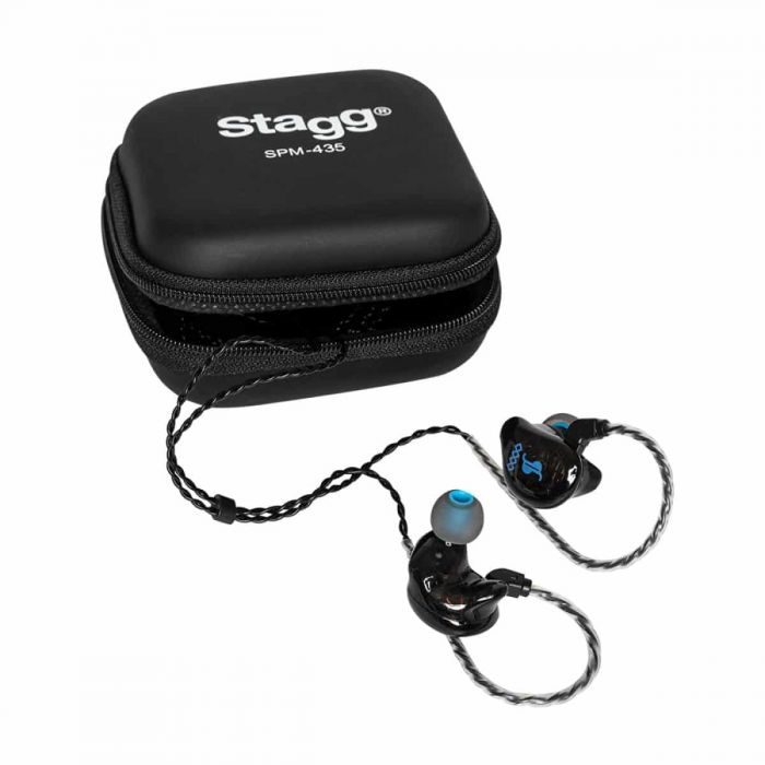 Stagg SPM-435 4 Driver In-Ear Stage Monitor Black top down view