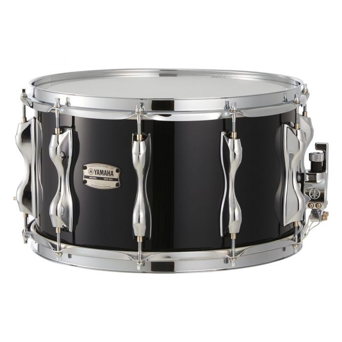 """Yamaha Recording Custom Birch 14"""" x 8""""  Snare Solid Black Front View"""