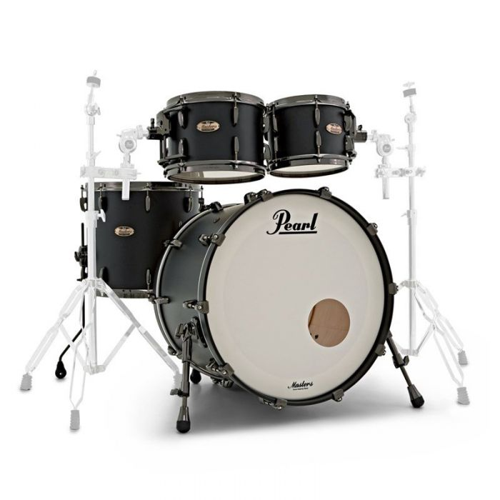Pearl Masters Maple Reserve 4-Piece Shell Pack in Solid Matte Black Front