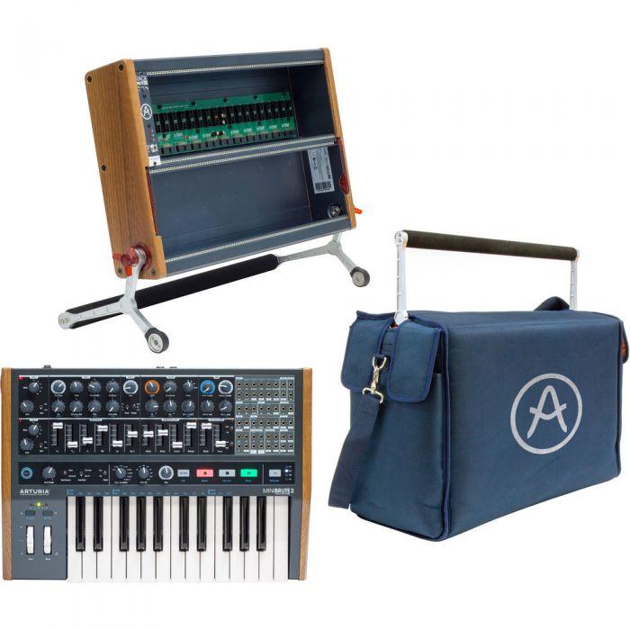 Arturia Minibrute 2 Bundle with RackBrute 6U Case & Travel Bag Set