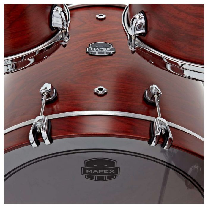 Kick drum close up on the Mapex 30th Anniversary 5pc Kit Maple Garnet Flame