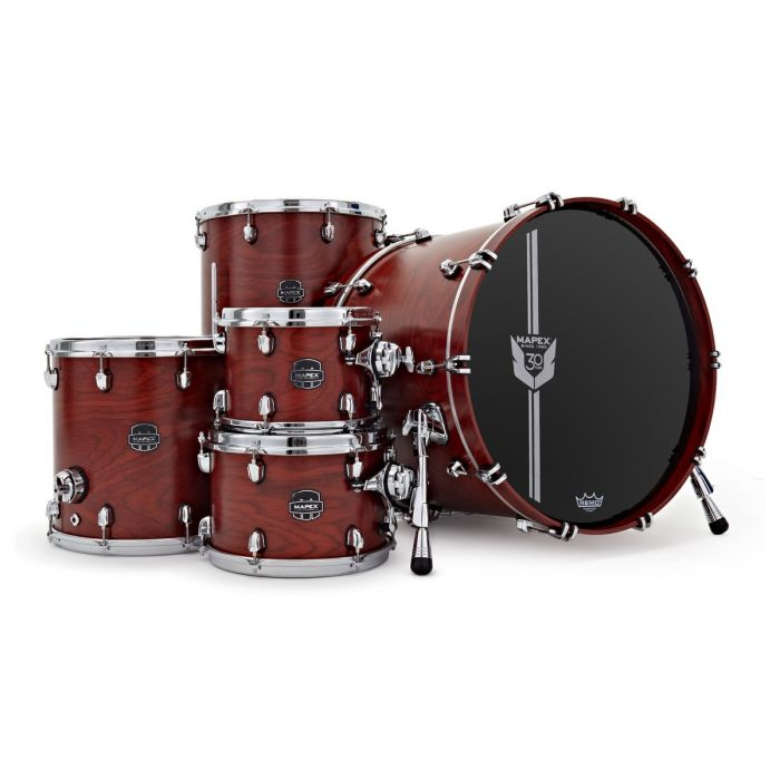 Overview of the Mapex 30th Anniversary 5pc Kit Maple Garnet Flame