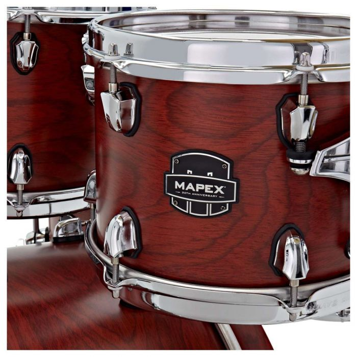 Close up of the toms on the Mapex 30th Anniversary 5pc Kit Maple Garnet Flame