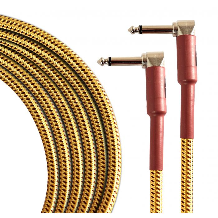 Overview of the TourTech 6m/20ft Braided Tweed Angled Guitar Cable