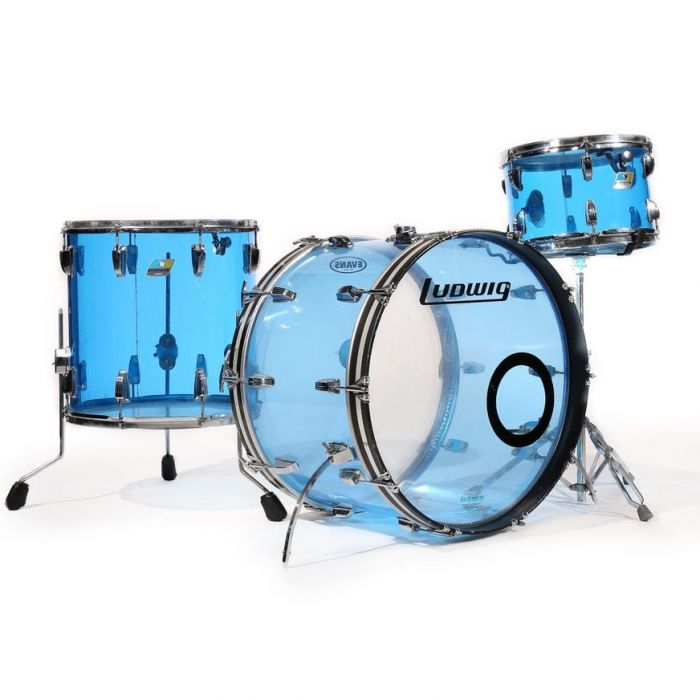 Overview of the Ludwig Vistalite 3-Piece Pro Beat Drum Set Shell Pack Blue