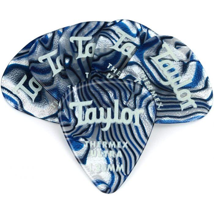 Taylor Darktone 351 Guitar Picks Blue Swirl 1.25mm 6-Pack