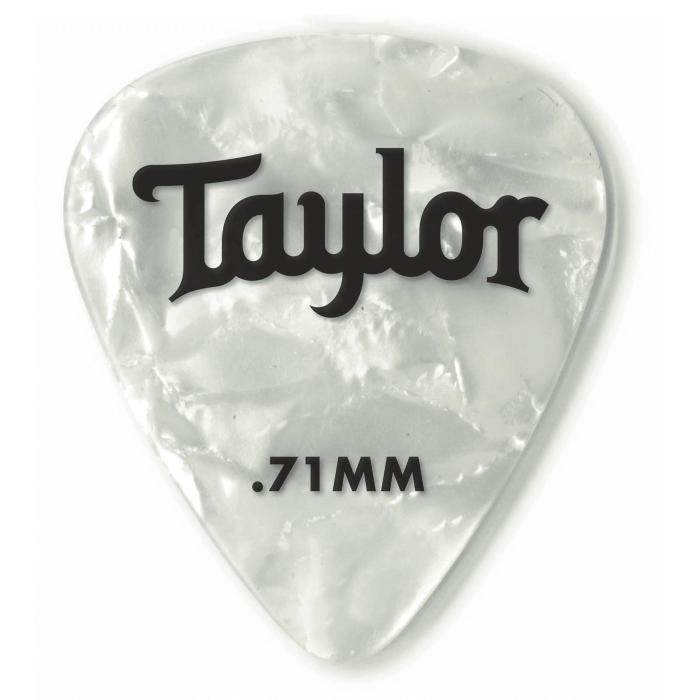 Taylor Celluloid 351 Medium Guitar Picks 0.71mm White Pearl 12 Pack