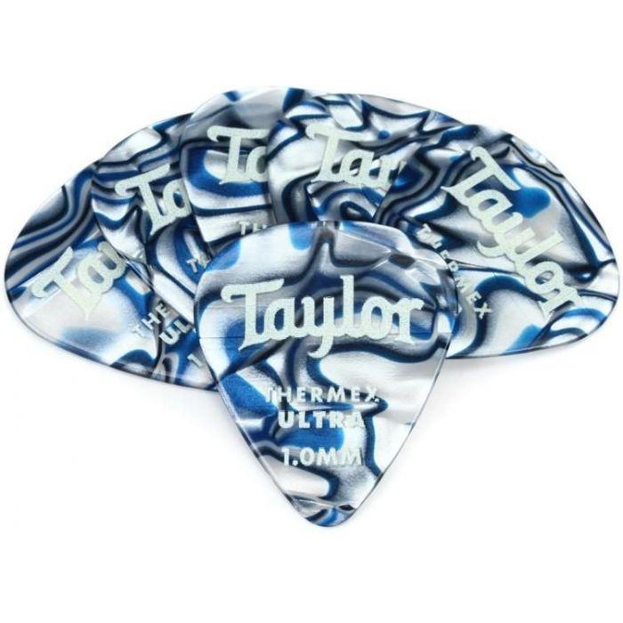 Taylor Darktone 351 Guitar Picks Blue Swirl 1.0mm 6-Pack