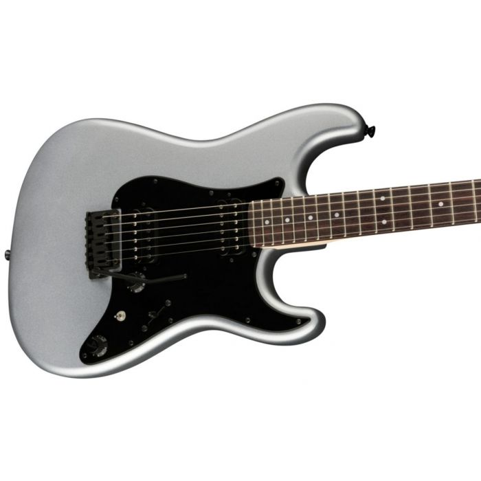 Angled body shot of the Fender Boxer Series Stratocaster HH RW Inca Silver