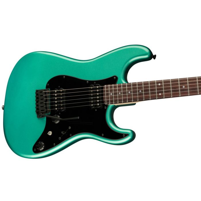 Angled body close up of the Fender Boxer Series Stratocaster HH RW Sherwood Green Metallic