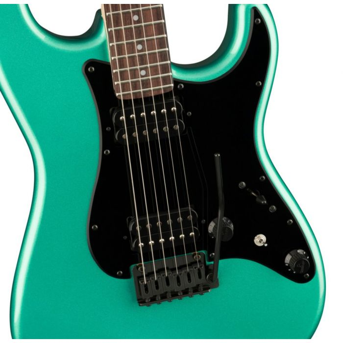 Body close up of the Fender Boxer Series Stratocaster HH RW Sherwood Green Metallic