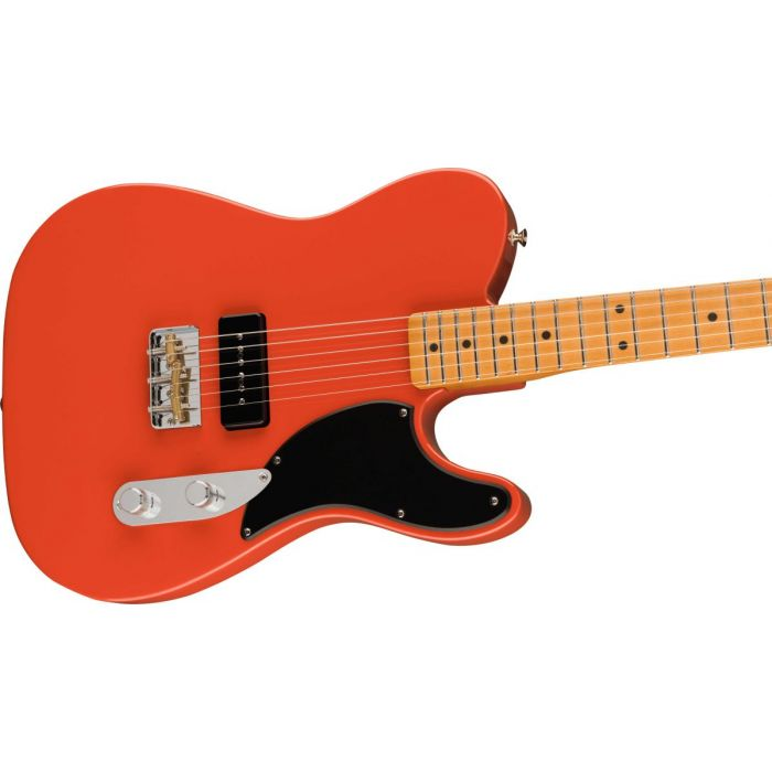 Side angld view of the Fender Noventa Telecaster MN Fiesta Red