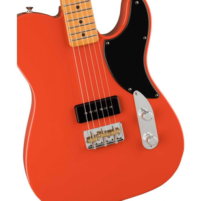 Body close up of the Fender Noventa Telecaster MN Fiesta Red