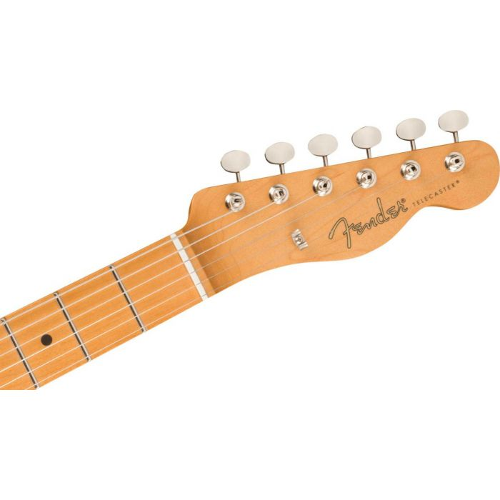 Headstock close up of the Fender Noventa Telecaster MN Fiesta Red