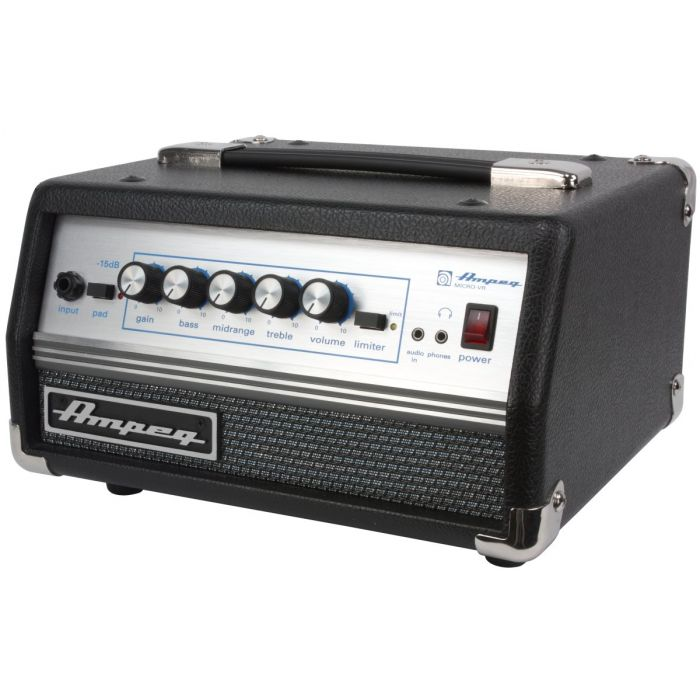 Front angled view of an Ampeg Micro VR Bass Head
