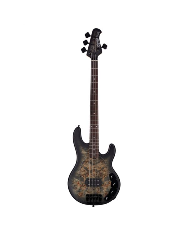 Sterling By Music Man Stingray 4-String Bass, Poplar Burl Top Trans Black Satin RN