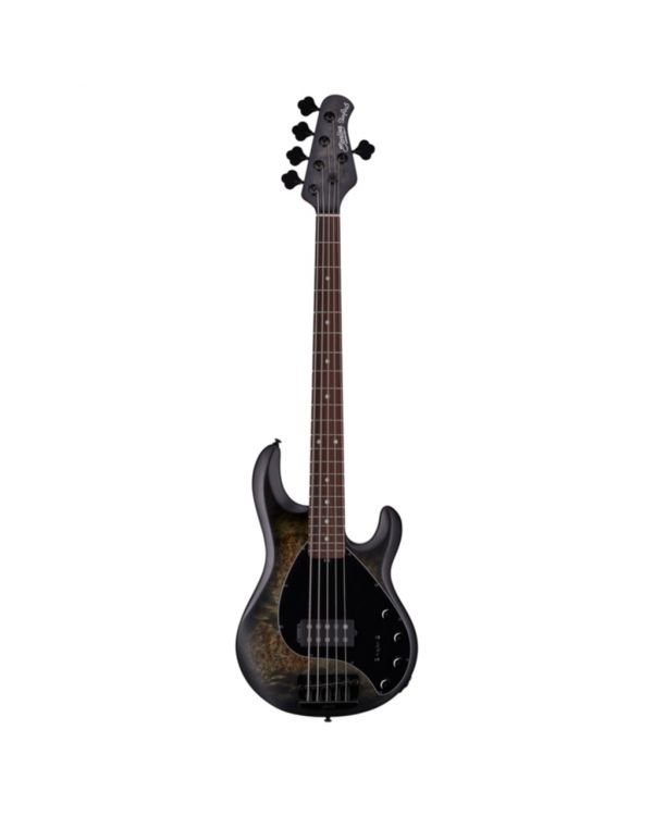 Sterling By Music Man Stingray 5-String Bass, Burl Top Trans Blk Satin RN